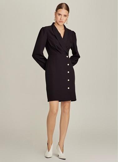 NGSTYLE Kruvaze Yaka İnci Düğmeli Elbise Siyah